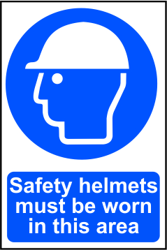 Safety helmets must be worn in this area - 200mm x 300mm Sign