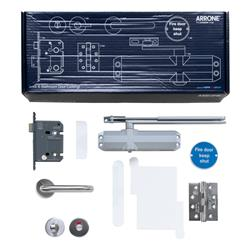 Hoppe Arrone Complete Fire Door Hardware Pack - Locking Bathroom - Kit B