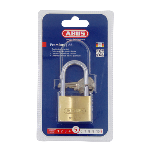 Abus 65 Series Long Shackle 40mm Brass Padlock