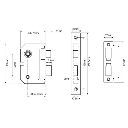"Union 2294 Mortice Bathroom Lock - 63mm (2.5"")"