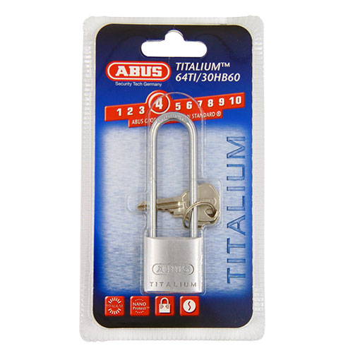 Abus 64TI Extra Long Shackle Titalium 30mm Padlock